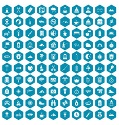 100 family camping icons sapphirine violet vector