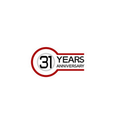 31 years anniversary with circle outline red vector