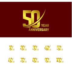 50 year anniversary set logo template design vector