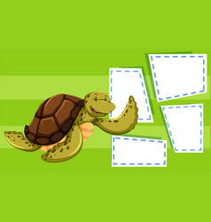 a sea turtle on balnk note vector image
