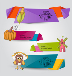 A set of thanksgiving horizontal banners happy vector
