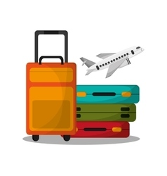 Baggage and airplane to travel design vector