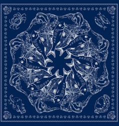 Bandana square pattern marine-themed vector