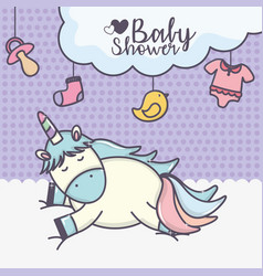 Bashower cute unicorn in cloud with duck sock vector