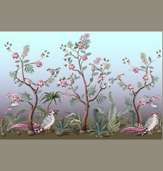 border in chinoiserie style with birds and peonies vector image