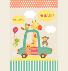 card with baby giraffe in car vector image