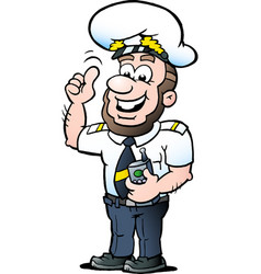cartoon a happy ship captain vector image