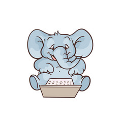 cartoon elephant sitting with laptop knees vector image