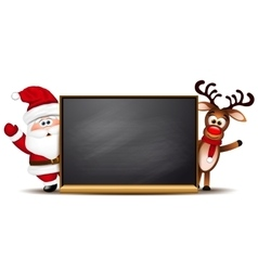 Christmas background Rudolph reindeer and Santa vector image