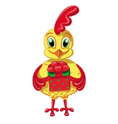 Cockerel with a gift vector image