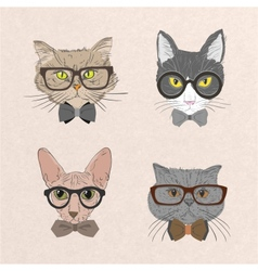 Collection of hipster cats vector