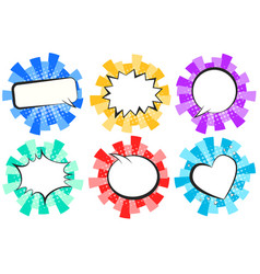 Colorful round striped retro comic speech bubbles vector