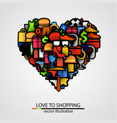 creative heart sign made of shopping items vector image