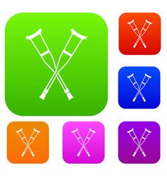 Crutches set collection vector