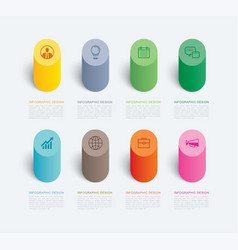 cylinder infographic template 8 data background vector image