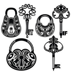 decorative keys and locks vector image