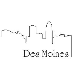 des moines city one line drawing vector image