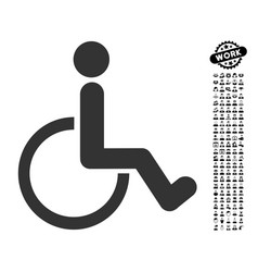 Disabled person icon with people bonus vector