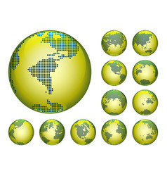 dotted digital earth globes sets vector image