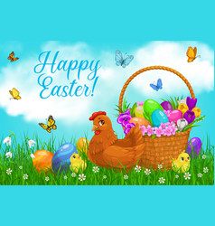 Easter egg hunt basket with chicks vector