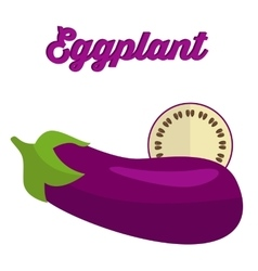 Eggplant - whole and cut vector image