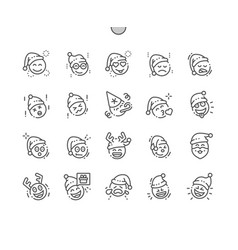Emoticons with christmas theme well-crafted pixel vector