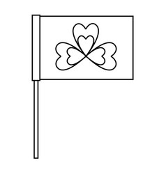 Flag with clover symbol outline vector