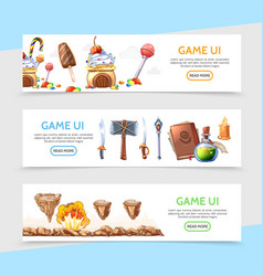 flat game design horizontal banners vector image