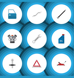 Flat icon service set of coupler pipeline vector