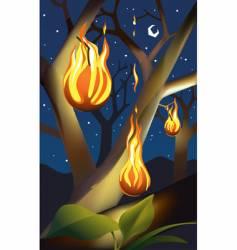 Fruit on fire vector