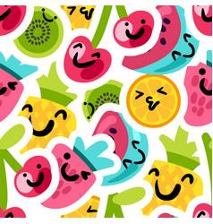 Fruits emoji stickers seamless pattern vector