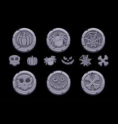 game stone coin set cartoon coins vector image