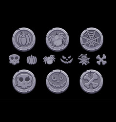 Game stone coin set cartoon coins with vector