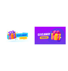 giveaway winner gifts promo banner social vector image
