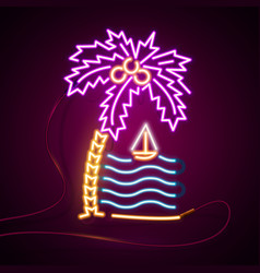 Glowing neon effect sign palm trees and sea sun vector