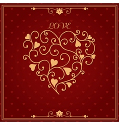 Gold valentine heart in floral style vector image