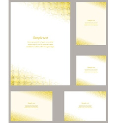 Golden square mosaic page corner design set vector