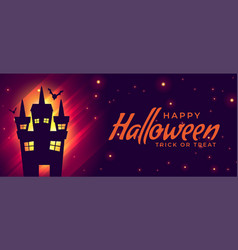 Halloween scary house with flying bats background vector