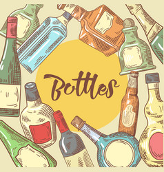hand drawn bottles menu design wine cognac vector image