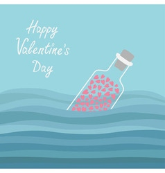 Happy Valentines Day Love card Bottle with hearts vector image