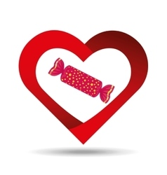 Heart cartoon red candy sweet icon design vector