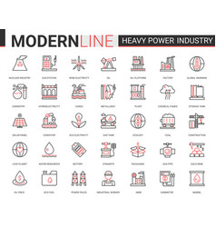heavy power industry flat thin red black line icon vector image
