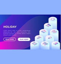holiday concept with thin line isometric icons vector image