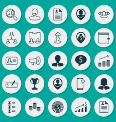 Hr icons set collection of job applicants money vector