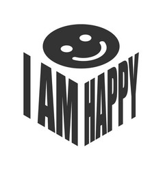 i am happy smile simple text slogan t shirt vector image