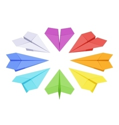 Isometric colored paper planes vector