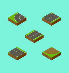 Isometric way set plane way turn and other vector