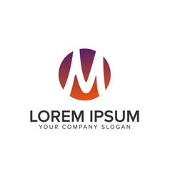 letter m circle logo design concept template vector image