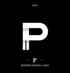 letter type p elegant identity design vector image