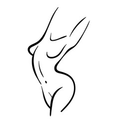 Line woman body silhouette in style vector